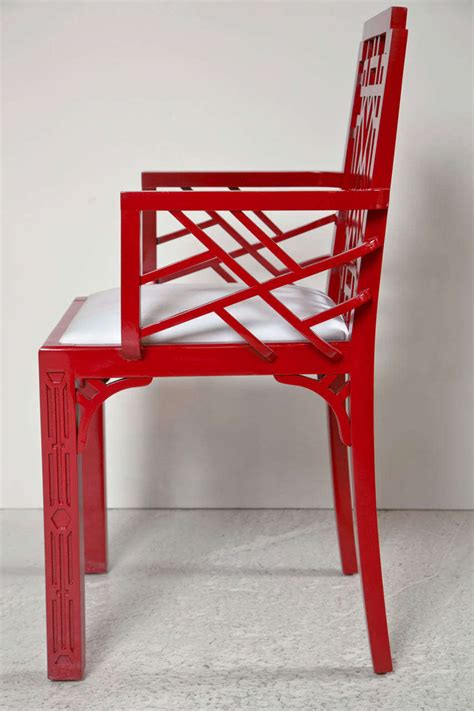 pair of lacquered chinese chippendale chairs at 1stdibs pair of red lacquered chippendale style chairs at 1stdibs