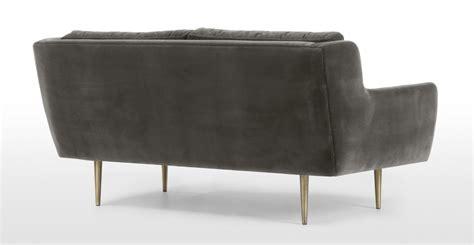cotton velvet sofa simone 2 seater sofa concrete cotton velvet made com