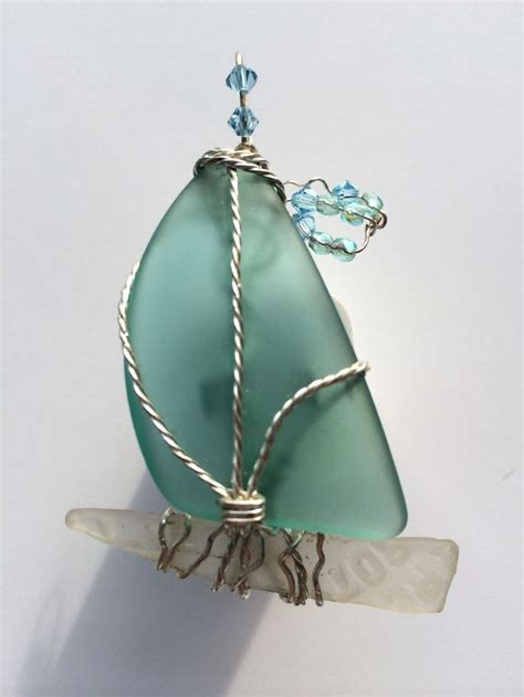 glass for craft projects teal sea glass sailboat pendant dixon