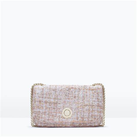 Zara Backpack Tweed zara tweed messenger bag in beige light pink lyst