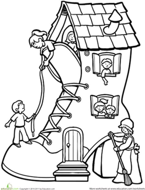 shoe house coloring pages there was an old woman who lived in a shoe worksheet