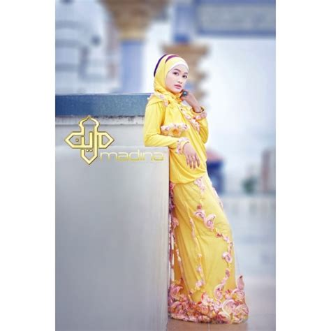 Dm Ameera Gamis Tosca madina ameera kuning baju muslim gamis modern