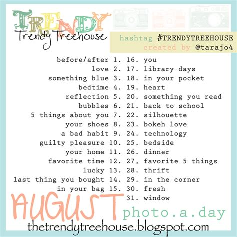 instagram august challenge trendy treehouse august photo a day challenge