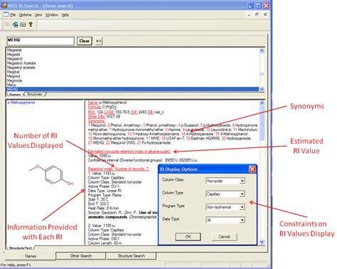 Search Data Chemdata Ridatabase
