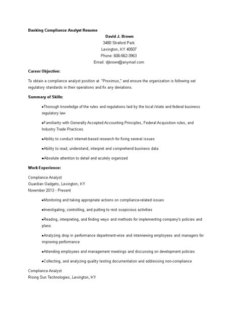 Banking Compliance Analyst Resume | Templates at