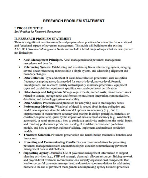 Research Statement Template sle problem statement 8 documents in pdf word
