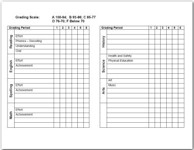 blank report card template homeschool free report card and grade printables homeschooling