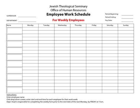 availability schedule template excel 8 best images of printable blank weekly employee