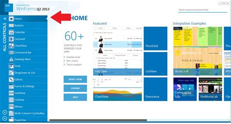 design winforms application how to create menu like quot demo application q2 2013 quot for win