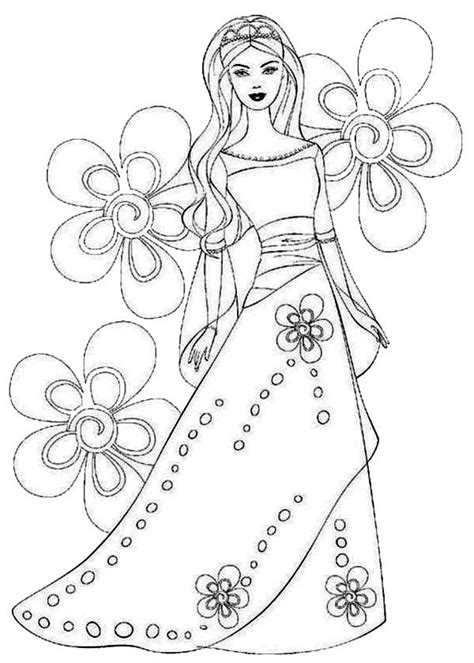 coloring pages of princess dresses flower princess coloring pages coloring home