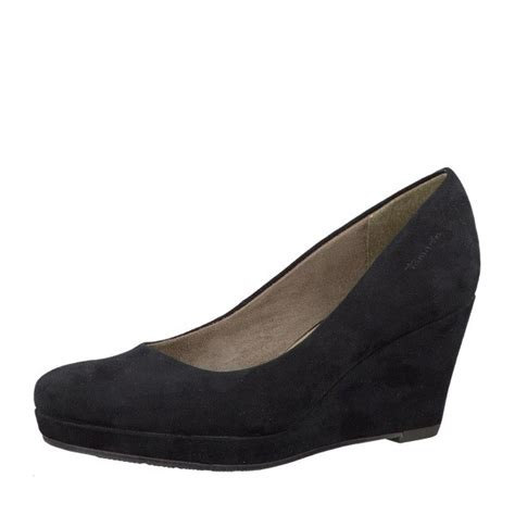 tamaris 22449 29 black suede wedge shoe tamaris from