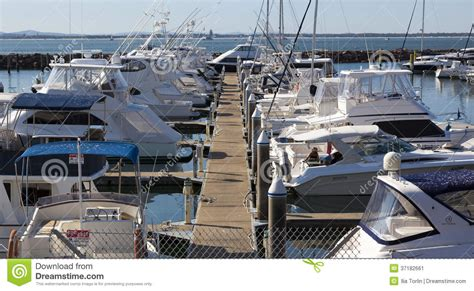 boat motors marina yacht or motor boat moored at marina nelson bay