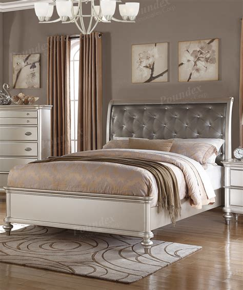 silver queen bed poundex silver queen bed frame f9317q