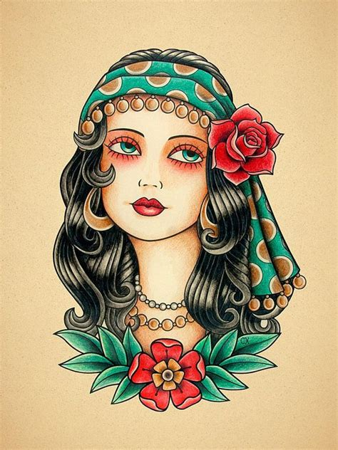 tattoo old school gypsy he encontrado este interesante anuncio de etsy en https