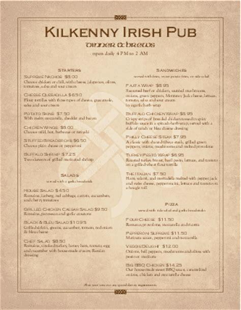irish tavern menu page lunch cafe menu