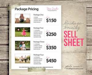 Photography Packages Price List Template Photography Pricing List Sell Sheet With Photos Photoshop Template