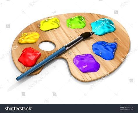 paint images spots of paint and brush on paint pallete 3d render