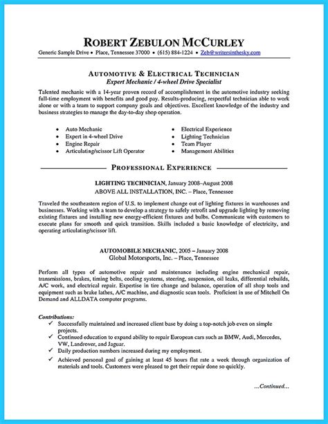 Writing A Concise Auto Technician Resume Automotive Resume Template