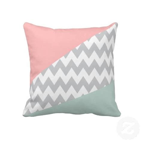 Grey chevron mint and coral throw pillow eggshell pillows and gray