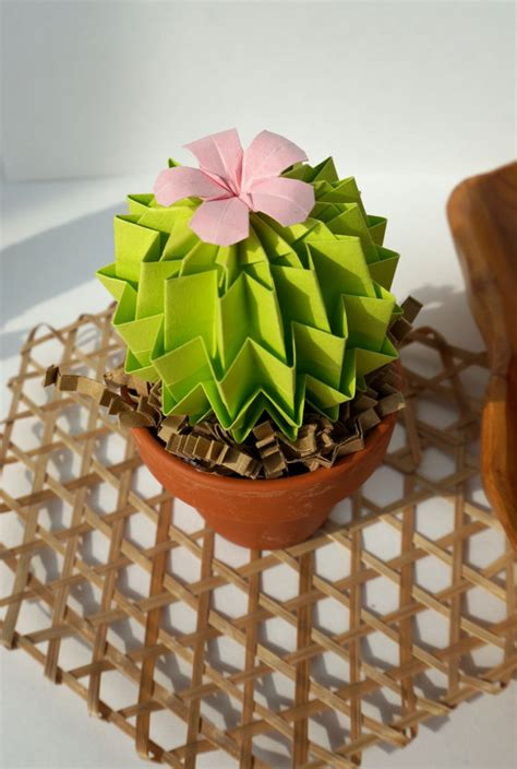 Origami Cactus - origami paper cactus in lime green with pink blossom home