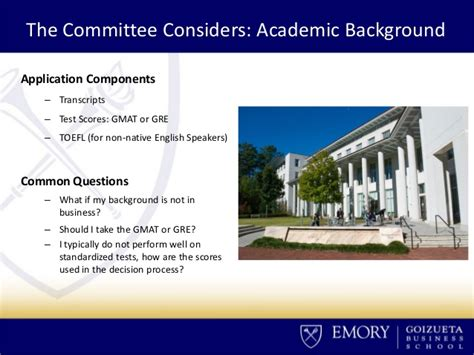Emory Evening Mba Application Deadline by Evening Mba Admissions Ins And Outs