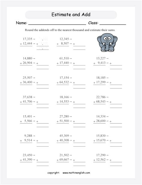 Using Rounding To Estimate Worksheets by Estimation Addition Worksheets Estimate The Sum