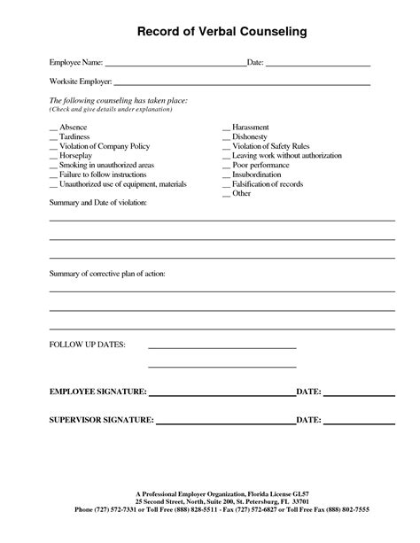 disciplinary write up form template best photos of employee verbal counseling form employee