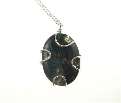 agate stones for jewelry moss agate pendant silver wrapped moss agate necklace