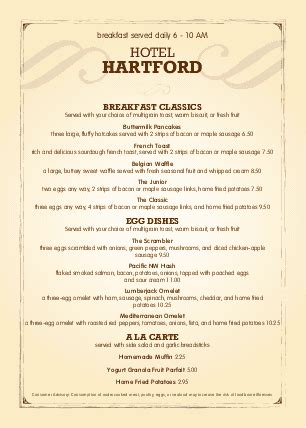 a4 hotel breakfast menu a4 menus