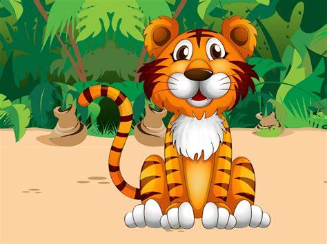 wallpaper cartoon tiger cute tiger jungle plant cartoon picture pretty desktop hd