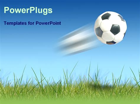 powerpoint template a flying football over the green land