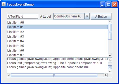 java swing event how to write a focus listener the java tutorials