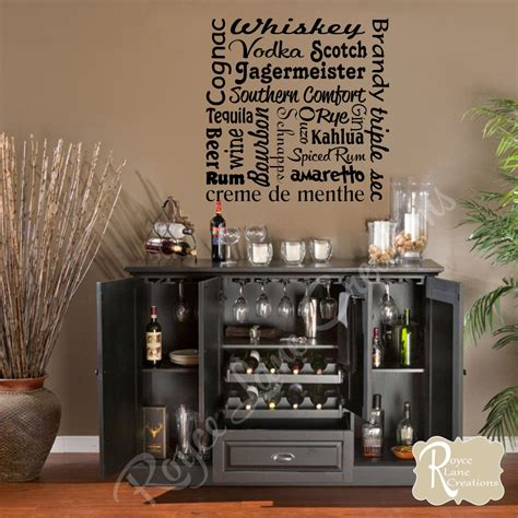 bar decor bar wall decal liquor names word art bar wall decor bar art