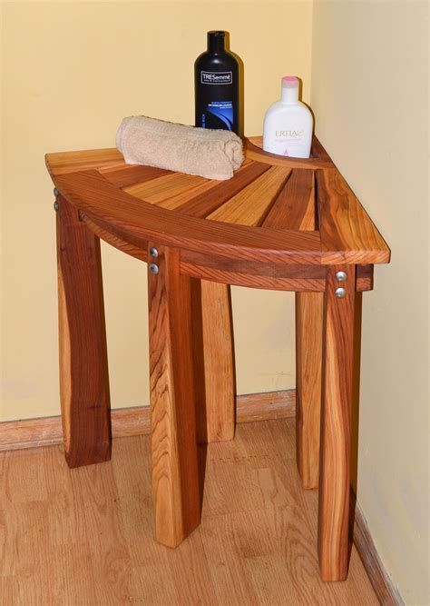 corner wooden bench redwood corner shower bench custom wooden bench