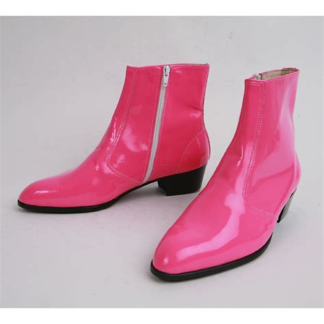 mens pink boots mens inner real leather western glossy pink side zip high