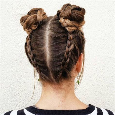 put your hair in a bun with braids 28 ridiculously cool double bun hairstyles you need to try