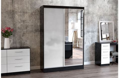 White Gloss Sliding Door Wardrobe by Birlea Lynx Black With White Gloss Sliding Door Wardrobe
