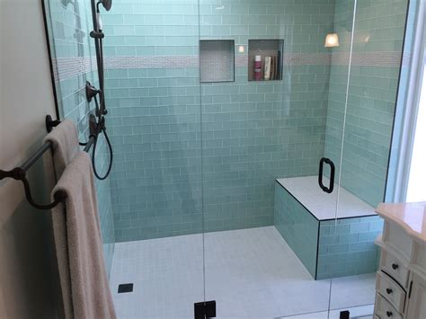 Tiling Side Of Bathtub by Side By Side Vanities Glass Tile Bathroom Remodel Los