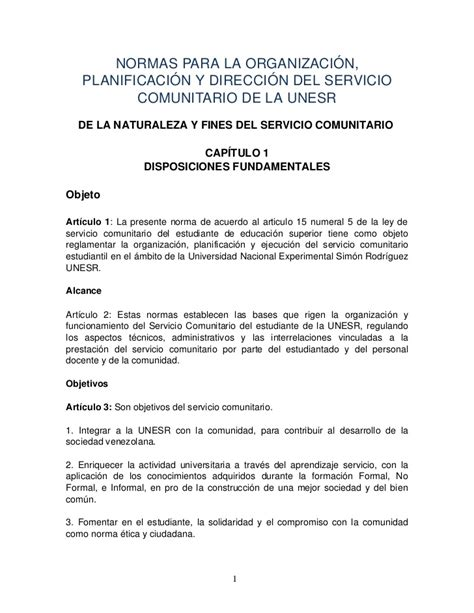 Carta De Culminacion De Servicio Comunitario normas servicio comunitario unesr 2012