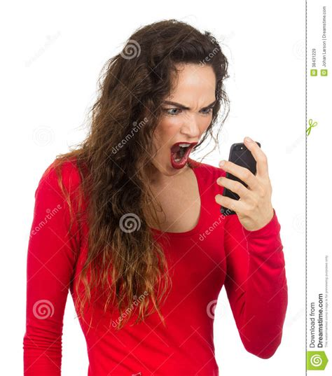 Screaming Phone screaming at phone royalty free stock images