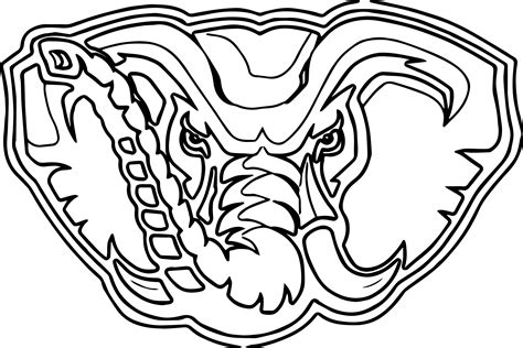 Alabama Football Coloring Pages Alabama Elephant Alabama Football Coloring Pages