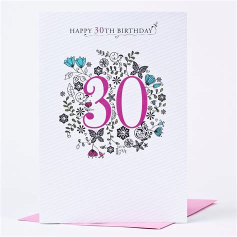 Thirty Birthday Cards 30th Birthday Card Floral Print Only 99p