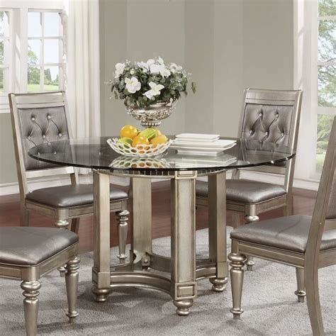 Coaster Glass Dining Table Coaster Danette Dining Table With Glass Top In Metallic Platinum 106470 Cb54rd Kit