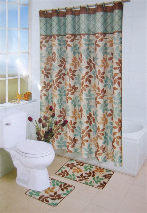 Bathroom Shower Curtain And Rug Sets Multicolored Leaves Floral Shower Curtain Bathroom Contour Bath Rug 15 Pc Set Ebay
