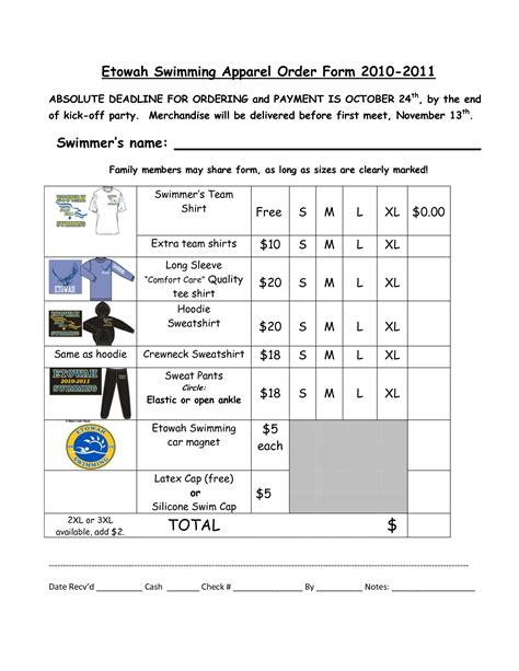 merchandise order form template best photos of apparel order form template t shirt order
