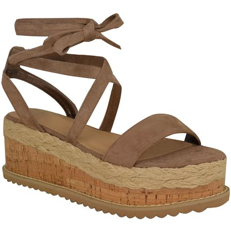 Wedges Heells Boots Flat Shoes 4 womens flat wedge espadrille lace tie up sandals platform summer shoes ebay
