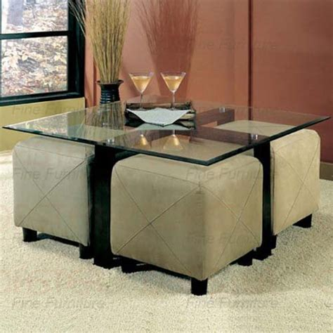 Coffee Table With Ottoman Seating Glass Coffee Table And 4 Ottoman Storage Cube Seating Coaster