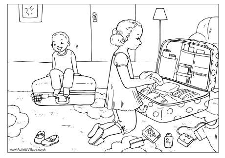 colorful an coloring book for the holidays books packing for vacation colouring page