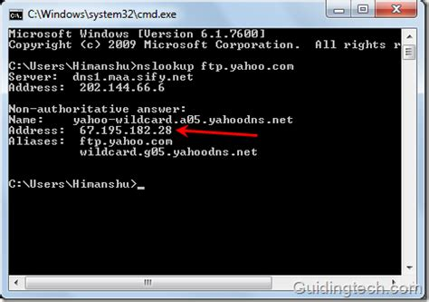 Yahoo Ip Address Lookup How To Find Ip Address Of A Domain Using Nslookup Command In Windows
