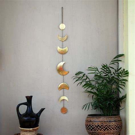 Hanging Moon Decoration by Moon Phases Wall Decor Moon Wall Hanging Brass Moon Wall